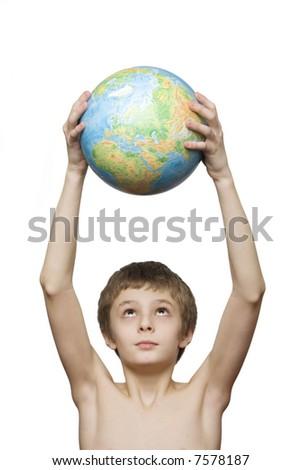 boy with the globe - stock photo