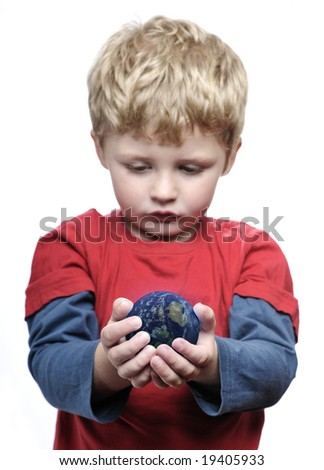 Boy with the world in his hands - stock photo