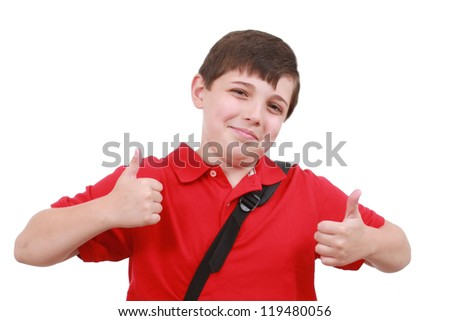 Boy with thumb up - stock photo