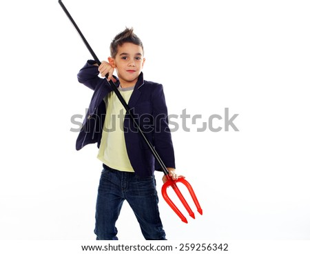 Boy with trident isolated on white - stock photo
