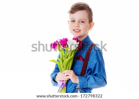 boy with tulips. valentine's day, March 8,  Mother's Day