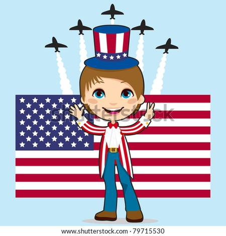 Boy with Uncle Sam costume celebrating United States of America Independence Day in front of Stars and Stripes flag and jet fighter air show - stock photo