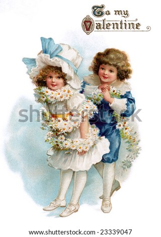 Boy wrapping a flower garland around his young girl friend - a circa 1890 Victorian greeting card illustration - stock photo