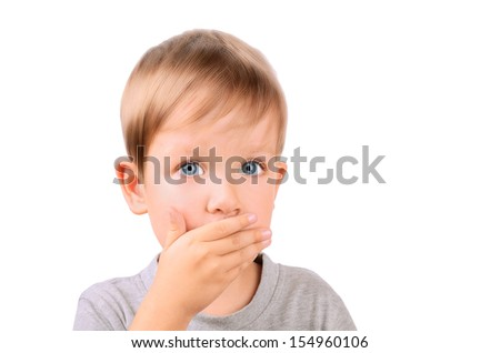 boy 5 years shut by the hand mouth. Horizontal Image isolated on white background - stock photo