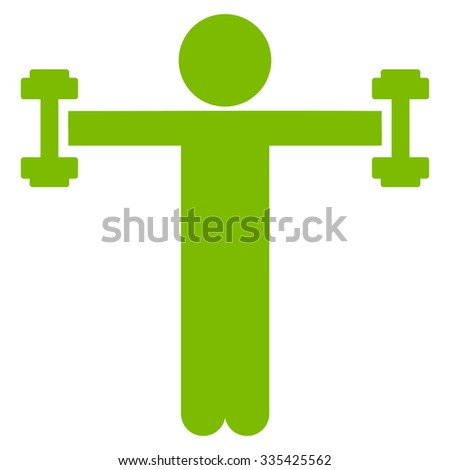 Boyfriend Fitness glyph icon. Style is flat symbol, eco green color, rounded angles, white background. - stock photo