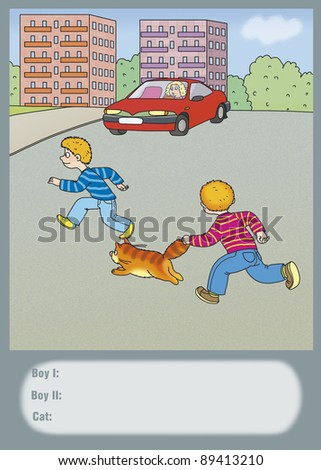 boys and a cat run across the road - stock photo