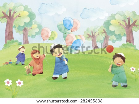 Boys and girl  playing outdoors with different toys - stock photo