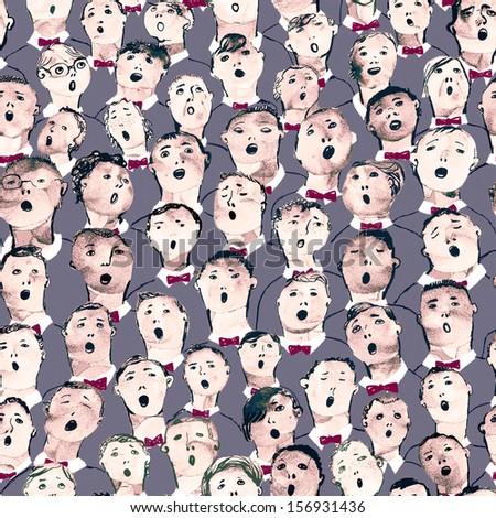 Boys choir seamless illustration - stock photo