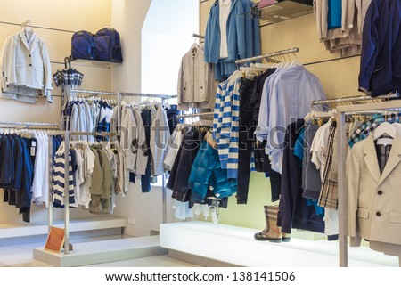 Boys department in clothing store - stock photo