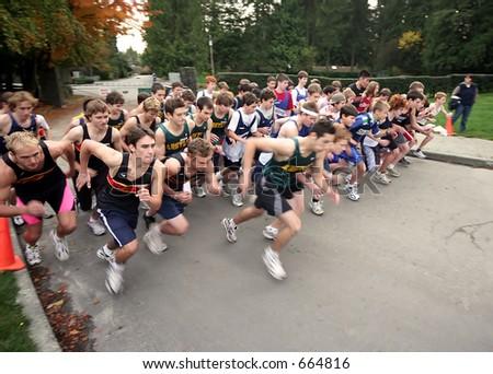 Boys High School Cross Country - stock photo