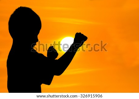 Boys in a fighting posed at sunset - stock photo