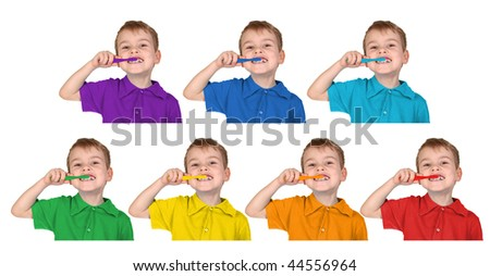 boys in iridescent sports shirts show with the toothbrush , collage