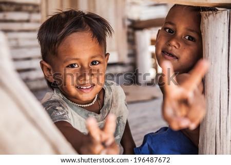 Boys in Thailand village. - stock photo