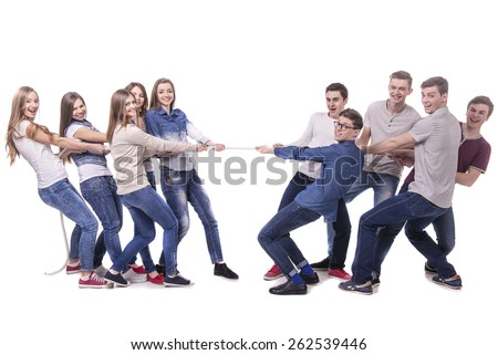 Boys vs girls. Pulling rope. Opposition. isolated over a white background. - stock photo