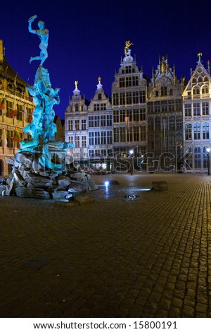 Brabo Fountain and guild houses at Grote Markt, Antwerp, Belgium - stock photo