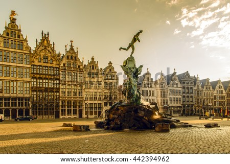 Brabo fountain in front of the town hall on the Great Market Square of Antwerp, Belgium - stock photo