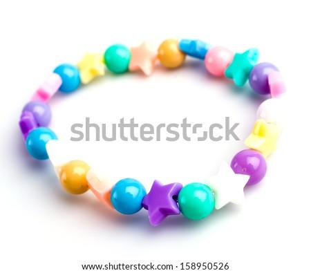 Bracelet color on isolated white background - stock photo