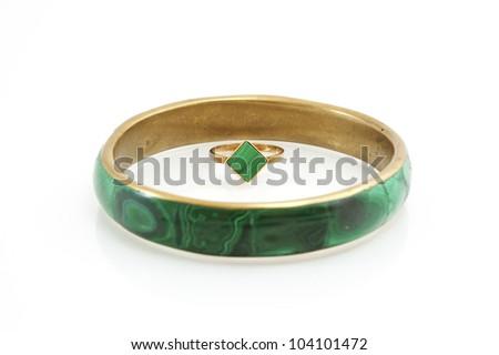 bracelet, earring and ring - stock photo