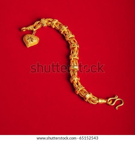 bracelet gold - stock photo