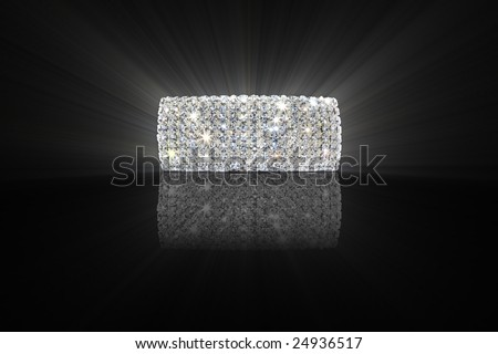 Bracelet with a reflection and Radiance on black background - stock photo