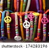 Bracelet with peace sign - stock