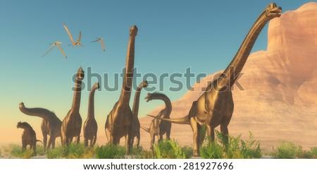 Brachiosaurus Afternoon - Three Pteranodon flying reptiles watch as a herd of Brachiosaurus dinosaurs travel near a canyon mountain. - stock photo