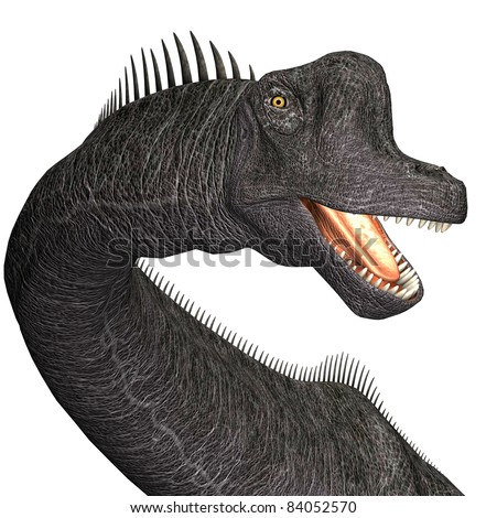 Brachiosaurus closeup of head, mouth open teeth showing. A genus of sauropod dinosaur from the Jurassic Morrison Formation of North America.  Isolated illustration. Clip art cutout - stock photo