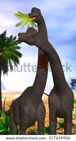 Brachiosaurus Dinosaurs - Brachiosaurus dinosaurs munch on tropical vegetation in the Jurassic Period of North America. - stock photo