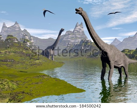 Brachiosaurus dinosaurs walking in water landscape by beautiful day - stock photo