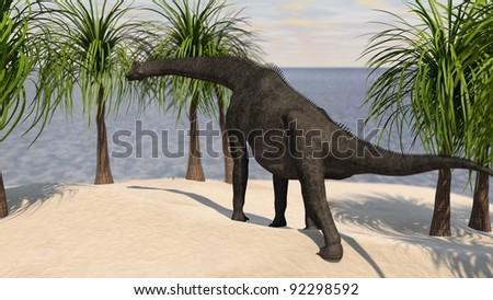 brachiosaurus on hill - stock photo