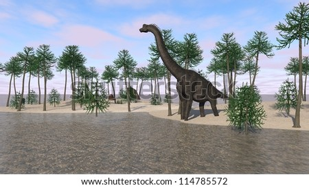 brachiosaurus on shore