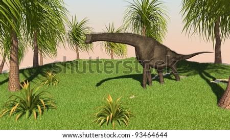 brachisaurus in jungle - stock photo