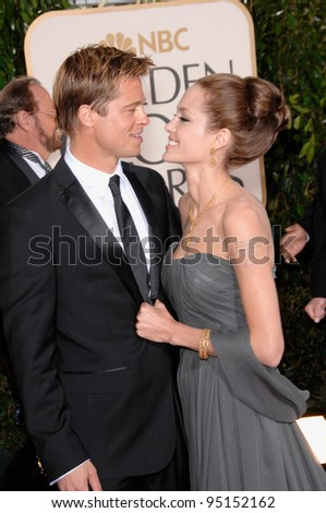 BRAD PIT & ANGELINA JOLIE at the 64th Annual Golden Globe Awards at the Beverly Hilton Hotel. January 15, 2007 Beverly Hills, CA Picture: Paul Smith / Featureflash