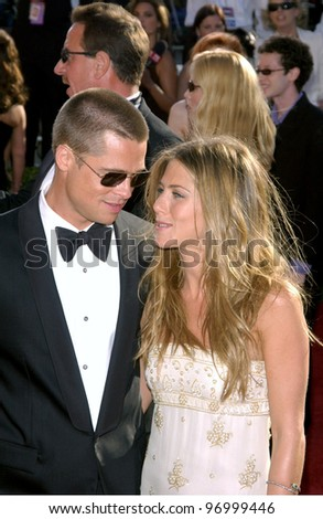 BRAD PITT & JENNIFER ANISTON at the 56th Annual Primetime EMMY Awards at the Shrine Auditorium, Los Angeles. September 19, 2004 - stock photo