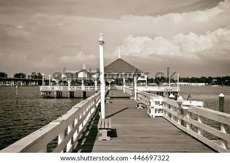 Bradenton Beach Historic Pier on Anna Maria Island, Florida - stock photo