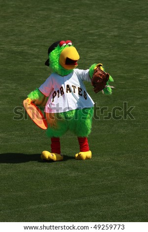 BRADENTON, FLORIDA- MARCH 19:  Pittsburgh Pirates mascot comes on the field to entertain the crowd before the game on March 19, 2010 in Bradenton Florida. - stock photo