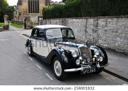 BRADFORD ON AVON, UK - JULY 18: A Riley Motors RM series seen on street on July 18, 2010 in Bradford on Avon, UK. With a top speed of 80mph and 0-60 in 25s the RM series was produce from 1945 to 1957. - stock photo