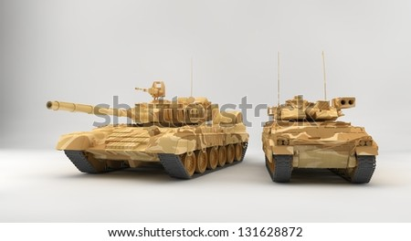 Bradley APC and T-80 tank - stock photo