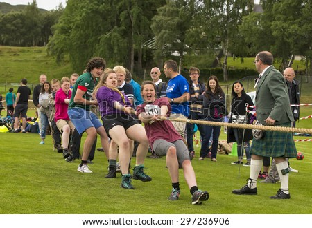 BRAEMAR, ABERDEENSHIRE, SCOTLAND - 11 JULY: Scene within the Braemar Junior Highland Games in Princess Royal and Duke of Fife Memorial Ground, Braemar, Aberdeenshire, Scotland on 11 July 2015.