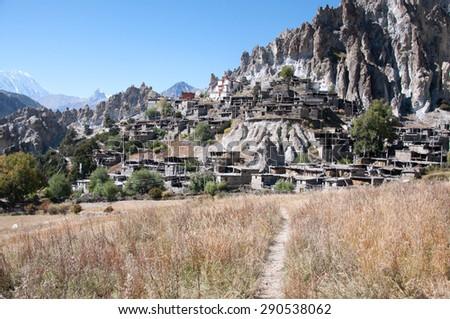 Braga Gompa village in Nepal, Himalaya mountains - stock photo
