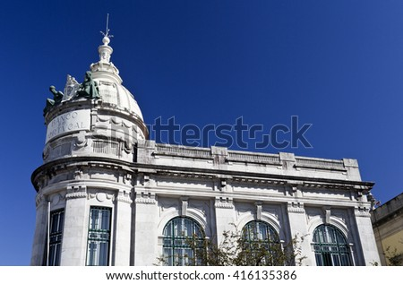 BRAGA, PORTUGAL - September 21, 2015: Detail of the upper level and dome of the building of the Bank of Portugal (written on the image), on September 21, 2015 in Braga, Portugal - stock photo