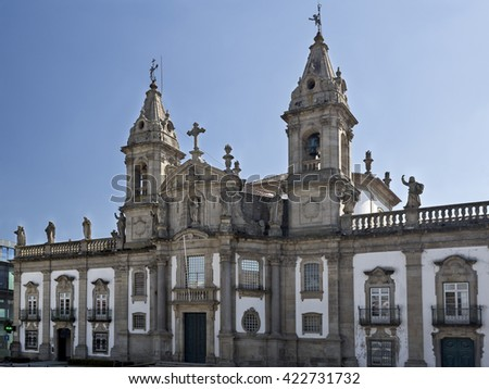 BRAGA, PORTUGAL - September 21, 2015: The Church of Saint Mark (igreja de Sao Marcos) is 18th century classic baroque temple in Braga, on September 21, 2015 in Braga, Portugal - stock photo