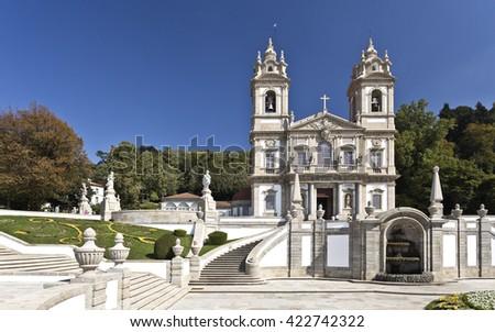 BRAGA, PORTUGAL - September 21, 2015: The neoclassical Basilica of Bom Jesus (Good Jesus) in Braga, on September 21, 2015 in Braga, Portugal  - stock photo