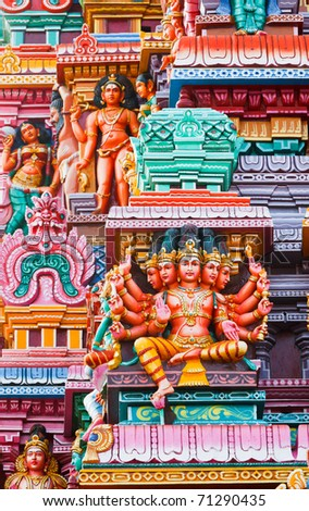 Brahma image. Sculptures on Hindu temple gopura (tower). Menakshi Temple, Madurai, Tamil Nadu, India
