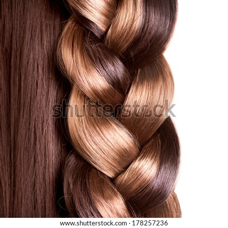 Braid Hairstyle. Brown Long Hair close up. Healthy Hair border isolated on a white background  - stock photo