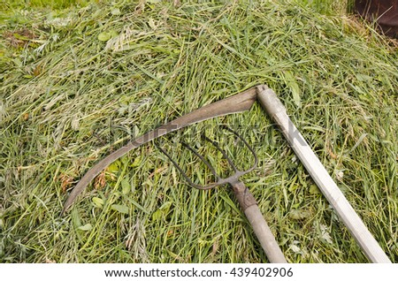 Braid scythe with a pitchfork on a heap of hay of a grass - stock photo