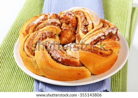 braided yeast cake with nut filling