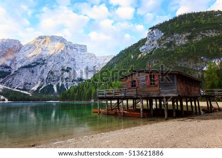 Braies Lake ( Pragser Wildsee ) in Dolomites mountains, Sudtirol, Italy