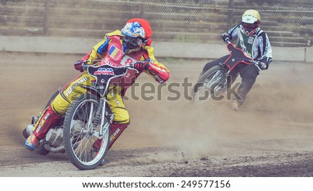BRAILA, ROMANIA - May 31: Unidentified riders participate at National Championship of Dirt Track on May 31, 2014 on Braila, Romania - stock photo