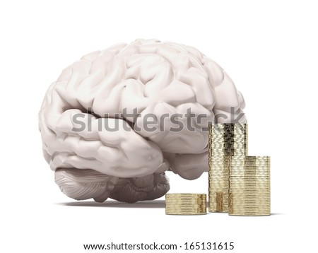 brain and coins